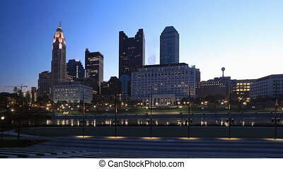 Night to day scene timelapse of Columbus, Ohio city center -...