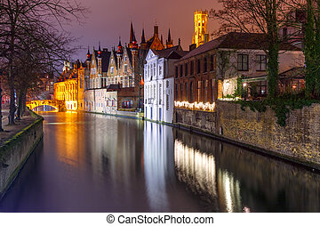 Night tower Belfort and the Green canal in Brug - Scenic ...
