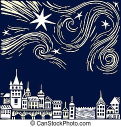 Night town vector illustration