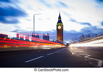 night traffic at Big Ben in London City