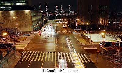 night traffic at the intersection of new york