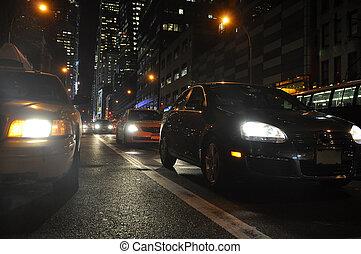 cars during night city traffic, photo taken in New York