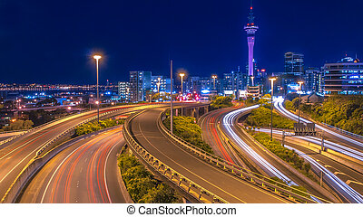 Night traffic in Auckland city centre