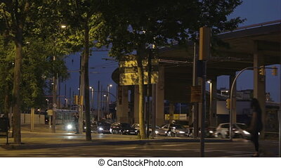 Night traffic in Barcelona. Time lapse.