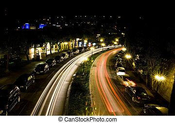 Night traffic in Portoroz
