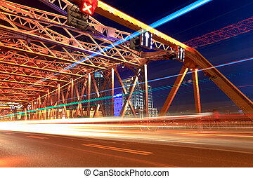 night traffic in shanghai garden bridge