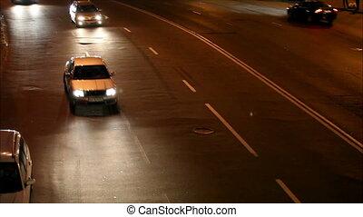 Night traffic in the city, defocus