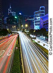 night traffic light trail
