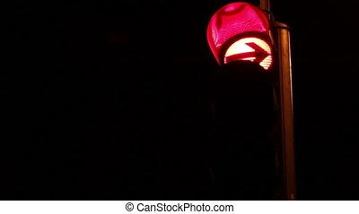 Night Traffic Light Turning Green - Nighttime traffic light...