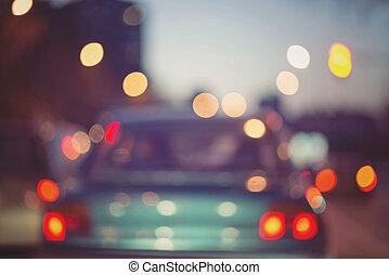 Night traffic lights in the city