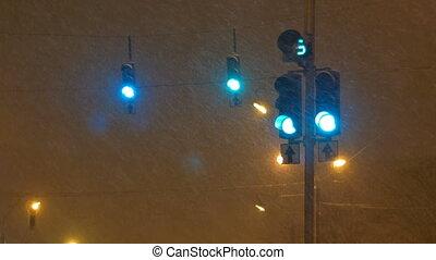 Night Traffic Lights Thick Snowing