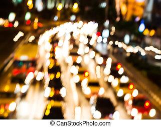 Night traffic. Motion blur.
