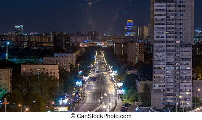 Night traffic movement at the center of Moscow timelapse, aerial urban view