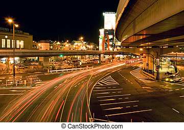 night traffic - night car's traces, traffic near Ueno...