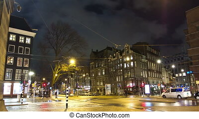 Night traffic of Amsterdam at night. Time lapse.