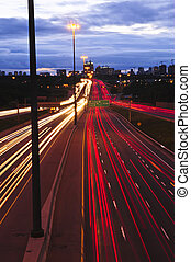 Night traffic on a busy city highway in Toronto