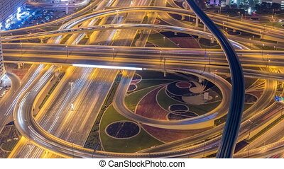 Night traffic on a busy intersection on Sheikh Zayed highway...