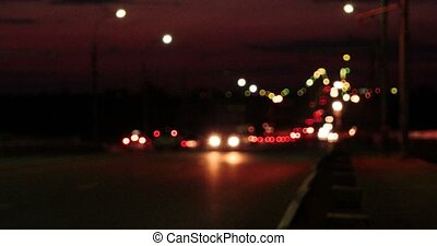 Night Traffic On Overpass Defocused Commuters Cars And...