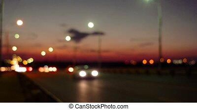 Night traffic on overpass defocused