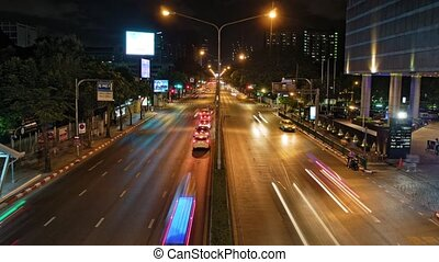night traffic on the roads of the city. time-lapse