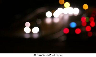 Night traffic timelapse. Blur carlight moving