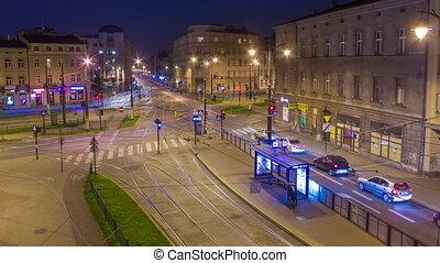 Night traffic timelapse, blured motion