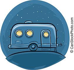 Night Trailer - A retro, cartoon steel trailer at night.
