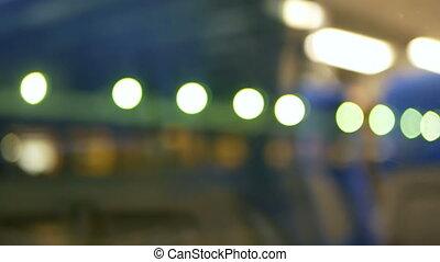 Night transport moving liight - Rain water drops on bus...