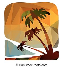 night tropical island - Polygonal backgrounds set, looks...