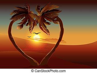 Night tropical island Two palm tree - Night tropical island....