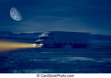 Night Truck Drive in Desert Area. Trucking Concept...