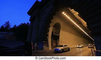 Night tunel light the car