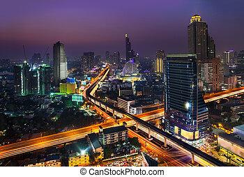 Night Urban City Skyline, Bangkok, Thailand. - Bangkok is ...