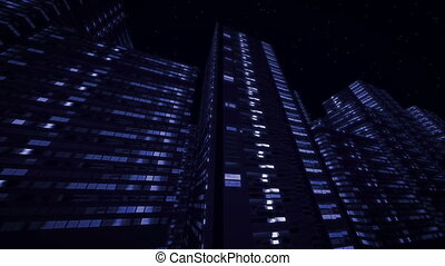 """ Night Urban high-rise buildings with lights in windows"" -..."