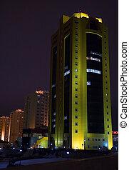 Night urban scene. Astana, capital of Kazakhstan, march 2007