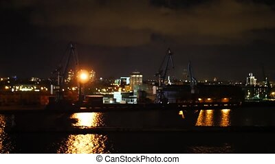 Night urban technology scene