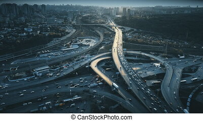 Night urban traffic road system sight aerial view - Night...