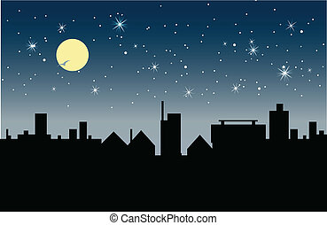 Night - Building at night with stars and moon in the sky.