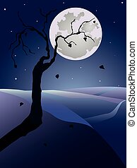 Night vector landscape with tree and full moon.