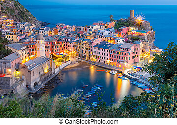 Night Vernazza, Cinque Terre, Liguria, Italy - Aerial night...
