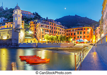 Night Vernazza, Cinque Terre, Liguria, Italy - Night fishing...