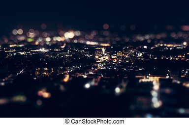 Night view above phuket town, Tilt shift effect.
