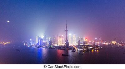Night View At Shanghai China Huangpu River And Bund