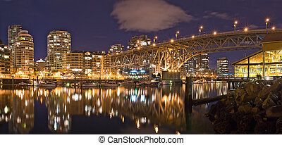 Night view at the Granville Street Bridge in Vancouver