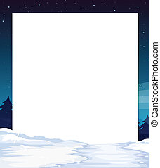 Night view banner - Ilustration of a banner with night...