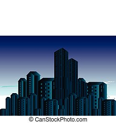 Night view - A vector illustration of a night time city...