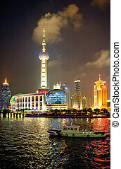 Shanghai tower - Night view for Shanghai tower from the...