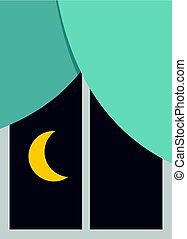 Night view from a window icon isolated - Night view from a...