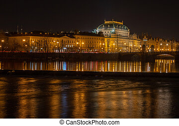 Night view from Kampa to the National Theater in Prague