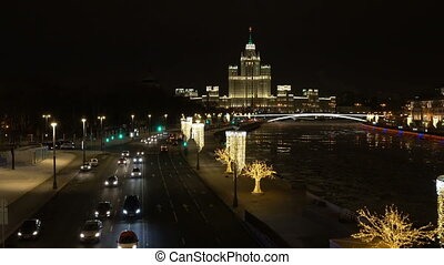 Night view from Soaring Bridge in Zaryadye Park, Moscow. -...